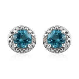 One Time Deal- Paraibe Apatite (Rnd), Diamond Earrings (with Push Back) in Platinum Overlay Sterling
