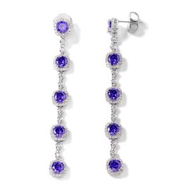 Simulated Tanzanite and Simulated Diamond Dangle Earrings in Silver Tone