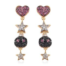 GP - Orissa Rose Garnet, Boi Ploi Black Spinel and Natural Cambodian Zircon Heart, Star and Ladybug