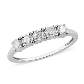 9K White Gold SGL Cerified Diamond (G-H/I2-I3) Five Stone Ring 0.50 Ct.