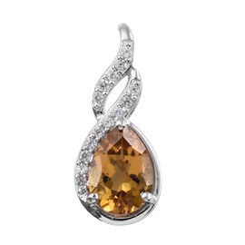 Xia Heliodor (Pear 1.50 Ct), Natural Cambodian Zircon Pendant in Platinum Overlay Sterling Silver 2.