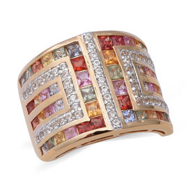 4.68 Ct AAA Rainbow Sapphire Princess Cut and Zircon Cluster Ring in Gold Plated Sterling Silver