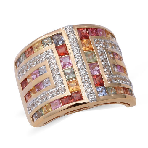 AAA Rainbow Sapphire and Zircon Ring in Gold Plated Sterling Silver,4.68 Ct