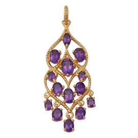 Lusaka Amethyst Pendant in Yellow Gold Overlay Sterling Silver 4.08 Ct, Silver wt. 5.00 Gms