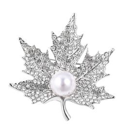 Simulated Pearl (Rnd), White Austrain Crystal Maple Leaf Brooch in Silver Plated