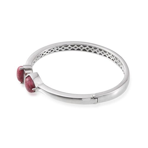 Norwegian Thulite (Trl) Open Bangle (Size 7.5) in ION Plated Platinum Bond 7.500 Ct.