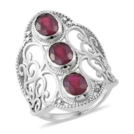 3.59 Ct African Ruby 3 Stone Ring in Sterling Silver 4.91 Grams