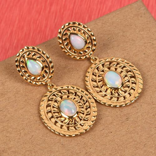 Ethiopian Welo Opal Dangle Earrings (with Push Back) in 14K Gold Overlay Sterling Silver 1.50 Ct, Silver wt. 6.42 Gms