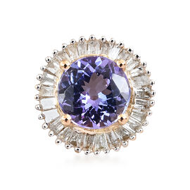 1 Carat AA Tanzanite and Diamond Halo Pendant in 9K Yellow Gold