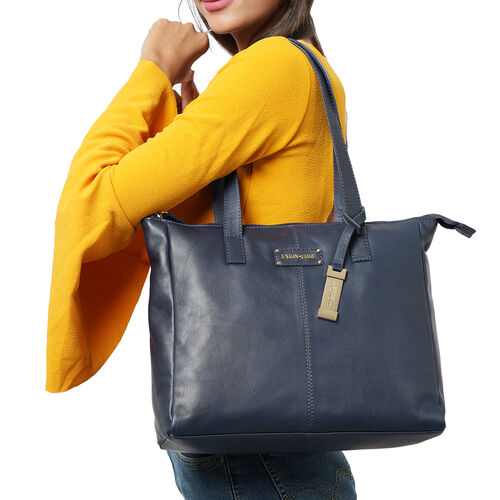 UNION CODE - 2 Piece Set 100% Genuine Leather Tote Bag (Size 33x12.5x27.5 Cm) with RFID Protected Wristlet Clutch (Size 20.5x12 Cm) - Navy
