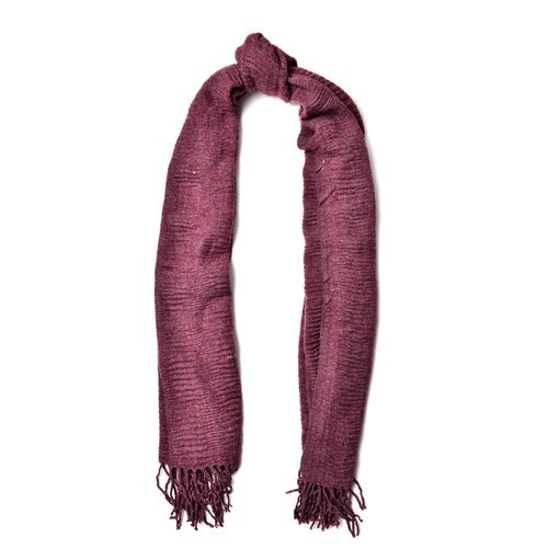 Purple Colour Scarf with Fringes (Size 200x60 Cm)