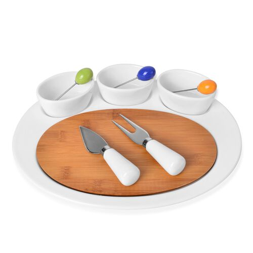 Kitchen Accessories - 3 Oval Ceramic Bowls (Size 8.5X4 Cm), Ceramic Tray (Size 30X24 Cm), Bamboo Boa