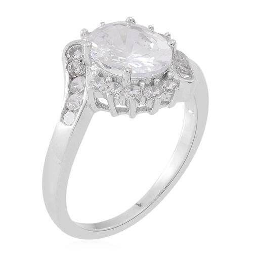 ELANZA Simulated White Diamond (Ovl) Ring in Rhodium Plated Sterling Silver