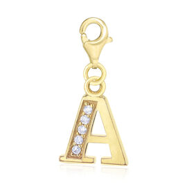 Simulated Diamond A Initial Charm in Yellow Gold Overlay Sterling Silver.