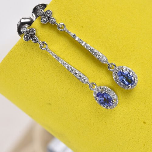 Tanzanite and Natural Cambodian Zircon Dangling Earrings (with Push Back) in Platinum Overlay Sterling Silver 1.00 Ct.