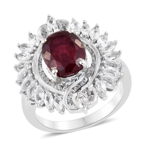 8 Ct African Ruby and White Topaz Cocktail Ring in Platinum Plated Silver 8.18 Grams