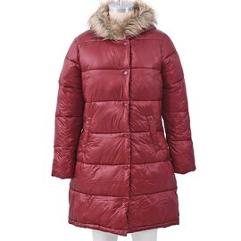 Women Long Puffer Jacket with Faux Fur Trim Hood and Two Pockets in Wine Colour