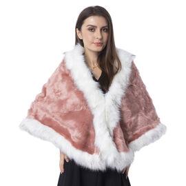 Dark Pink Colour With White Colour Edge Faux Fur Wrap (Size 160x55 Cm)
