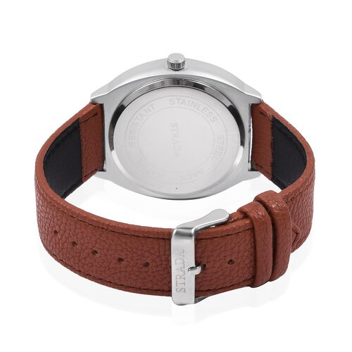 STRADA Japanese Movement Silver Grey Colour Plated Water Resistant Watch with Brown Colour Literal and Strap.