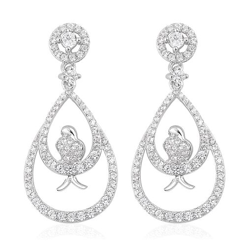 Natural White Cambodian Zircon (Rnd) Hanging Bird Earrings (with Push Back) in Rhodium Plated Sterling Silver 3.00 Ct. Silver wt 5.11 Gms. Number of Gemstone 152