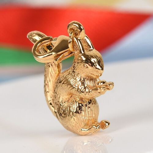 Sterling Silver Squirrel Charm in 14K Gold Overlay 4.61 Gms.