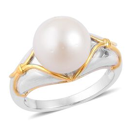 South Sea White Pearl (Rnd 11-11.5 mm) Ring in Rhodium and Yellow Gold Overlay Sterling Silver