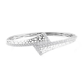 J Francis - Platinum Overlay Sterling Silver (Rnd) Bangle (Size 7.5) Made With SWAROVSKI ZIRCONIA, S