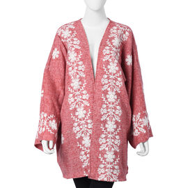Tweed Floral Border Embroidered Kimono (Size 72x80cm) - Pink and White