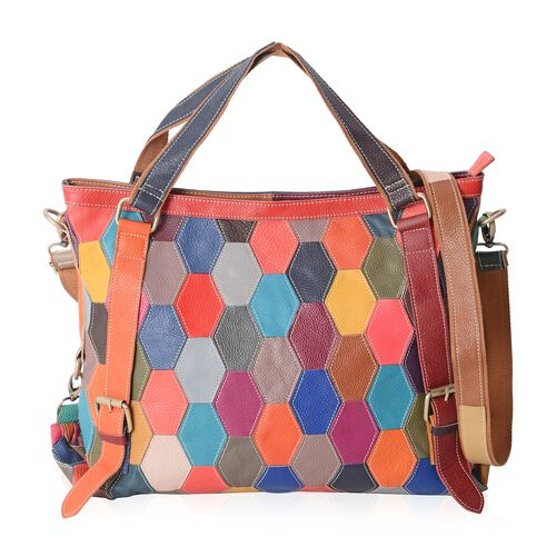 Morocco Collection 100% Genuine Leather Colour Blocking Tote Bag with External Zipper Pocket and Rem