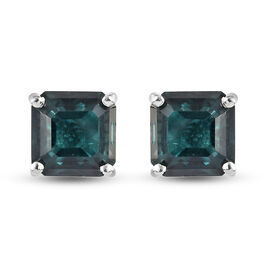 Alexandrite Quartz (Asscher 7x7mm) Solitaire Earrings (with Push Back) in Sterling Silver 3.79 Ct.