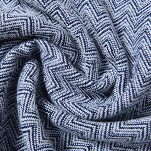 Navy Colour Chevron Pattern Scarf (Size 200x62 Cm)