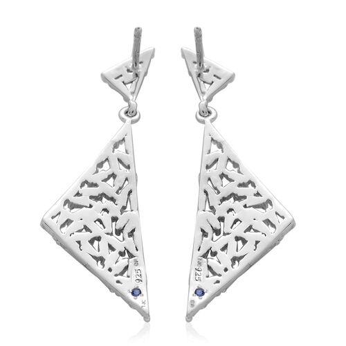 GP Diamond (Bgt), Kanchanaburi Blue Sapphire Earrings (with Push Back) in Platinum Overlay Sterling Silver 1.000 Ct.