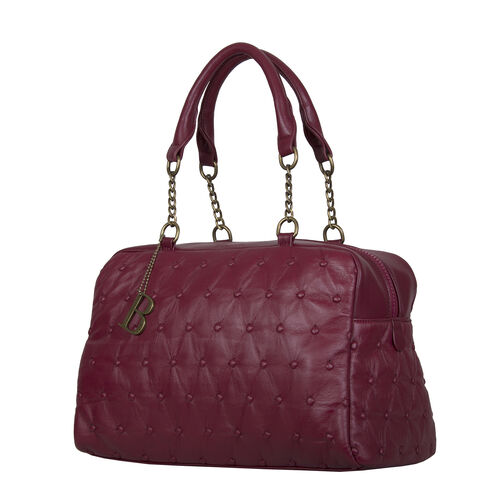 Bulaggi Collection - Chester Duffle Bag/Shoulder Bag with Zipper Closure and Detachable Strap (Size 34x23x13cm) - Burgundy
