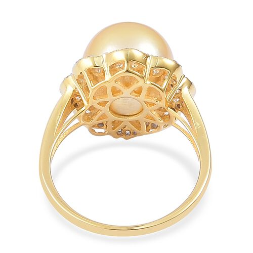 Very Rare Size South Sea Golden Pearl (Rnd 12-12.5 mm), Natural White Cambodian Zircon Ring in Yellow Gold Overlay Sterling Silver