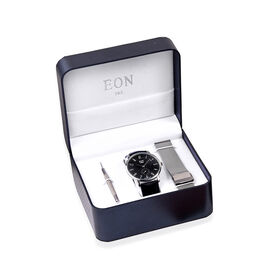 EON 1962 Japanese Movement 3ATM Water Resistant Watch with Interchangeable Black Genuine Leather Str