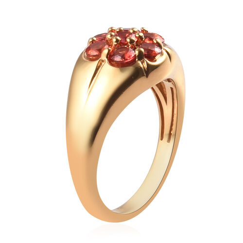 Red Sapphire Floral Ring in 14K Gold Overlay Sterling Silver 1.50 Ct.