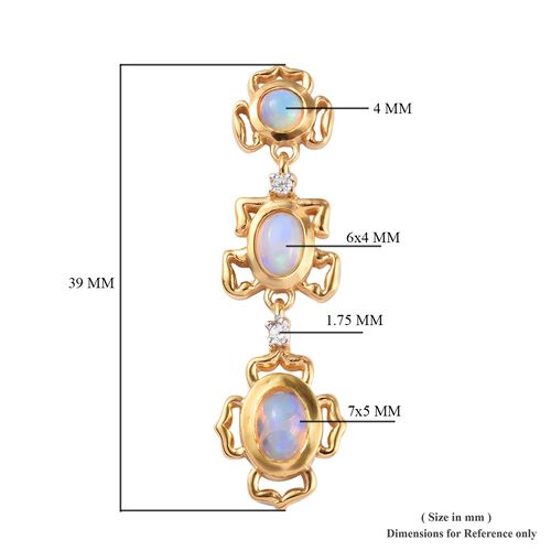 Ethiopian Welo Opal and Natural Cambodian Zircon Earrings (with Push Back) in 14K Gold Overlay Sterling Silver 2.25 Ct.
