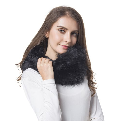 Black Colour Faux Fur Snood (Size 38x16 Cm)