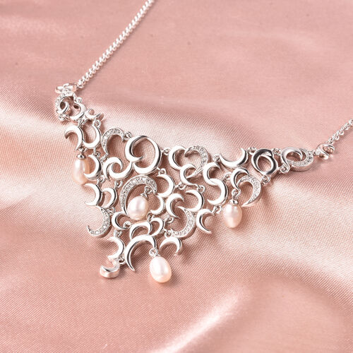 RACHEL GALLEY - Freshwater Pearl and Natural Cambodian Zircon Snowdrop Necklace (Size 18) in Rhodium Overlay Sterling Silver
