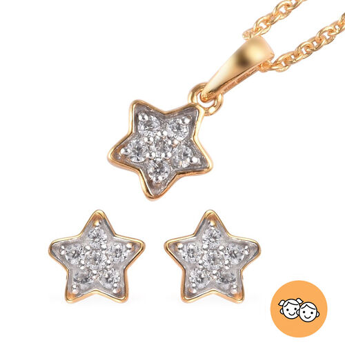 2 Piece Set Zircon Star Pendant for Kids with 20 Inch Chain and Stud Earrings in Gold Plated Sterlin