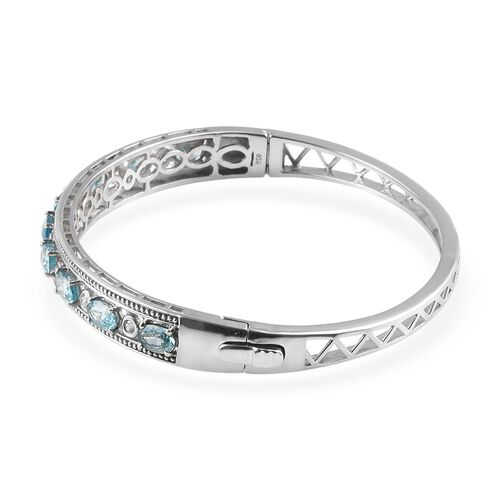 Ratanakiri Blue Zircon and Natural Cambodian Zircon Bangle (Size 7.5) in Platinum Overlay Sterling Silver 7.00 Ct, Silver wt 17.50 Gms