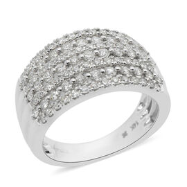 1 Carat Diamond Cluster Ring in 14K White Gold VS SI GH