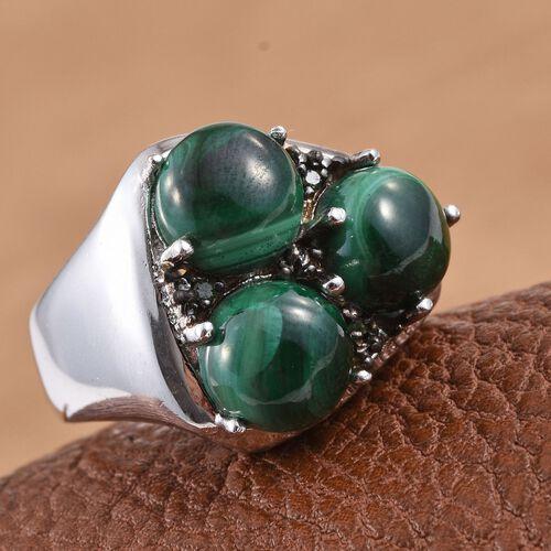 Malachite (Rnd), Green Diamond Ring in ION Plated Platinum Bond 10.000 Ct.
