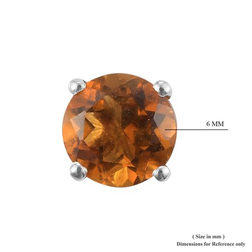 AA Red Citrine Stud Earrings (with Push Back) in Sterling Silver
