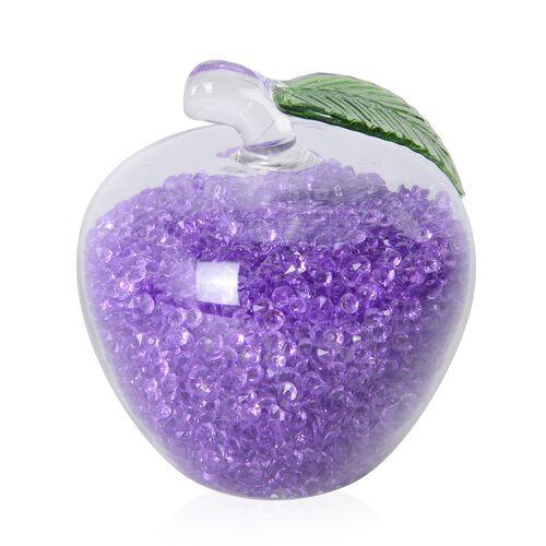 Purple Crystals filled Glass Apple Figurine