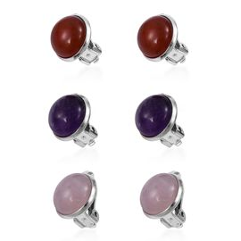 TJC MEGA DEAL - Set of 3 - Amethyst, Rose Quartz and Carnelian Clip On Earrings in Silver Plate 48.000 Ct.