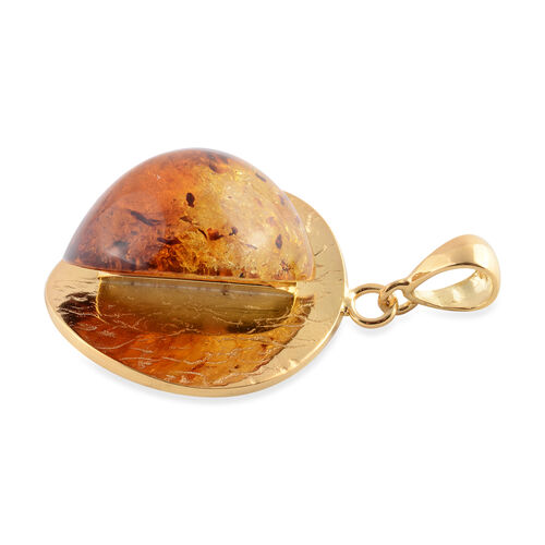 Baltic Amber Pendant in Yellow Gold Overlay Sterling Silver, Silver wt 10.00 Gms