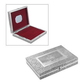 Sailing Ship Embossed Oxidized Ring Organizer Box with 9 Slots (Size L- 20.3 x W- 28 x D- 5 Cm)