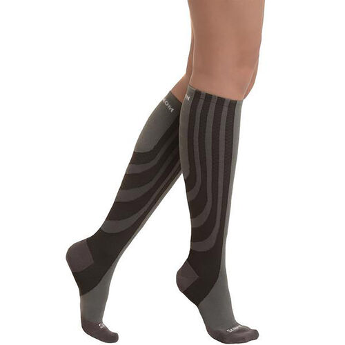 Set of 2 - SANKOM SWITZERLAND Patent Socks - Grey and Black (Size Plus I/ 3-5 UK)