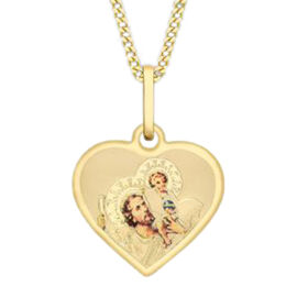 9K Yellow Gold St Christopher Heart Pendant